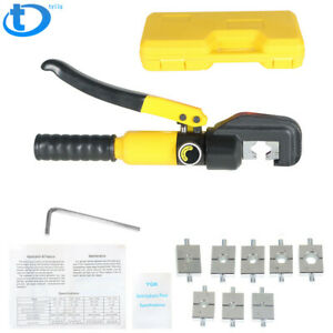 5 Ton Hydraulic Wire Battery Cable Lug Terminal Crimper Crimping Tool W 9 Dies