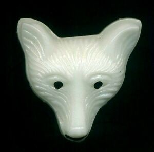 Glass Fox Face Button Vintage Realistic 13 16 Animal Dog Wolf Cayote