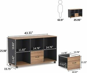 Rustic Lateral File Cabinet W 2 Drawers Rolling Wheels Printer Stand For Office
