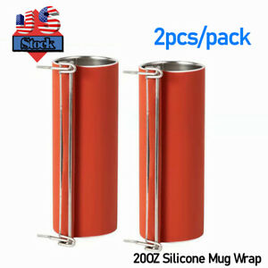 2pcs 20oz Silicone Mug Wrap With Stainless Steel Round Bar For Skinny Tumbler