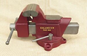 Restored Vintage Columbian Usa D45 m4 5 Wide Jaw Pipe Anvil Swivel Bench Vise