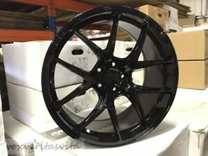 20 Gloss Black F1 Fi Style Staggered Wheels Rims Fits 2015 Ford Mustang