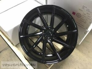 20 Staggered 8510 Gloss Black Swirl Concave Style Wheels Rims 5x1143