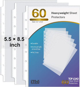Sheet Protectors 5 5x8 5 Inch For Small Binders 7 Hole 60 Pack Mini Clear Page
