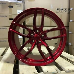 19 Red Voss Style Staggered Wheels Rims Fits 2015 Ford Mustang