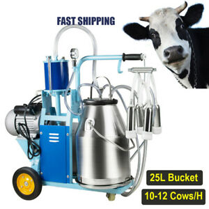 110v Electric Milking Machine Milker For Farm Cows Bucket 25l Stainless Steel Us