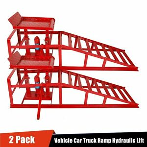 2x Lift Frame Repair Auto Service Heavy Car Lifts Duty Ramps Hydraulic Red