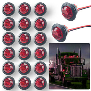 20pcs Red 3 4 Round Led Bullet Clearance Side Marker Lights For Truck Trailer Rv