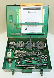 Greenlee 7310 Hydraulic Knockout Punch Set W Metal Case 100 Tested