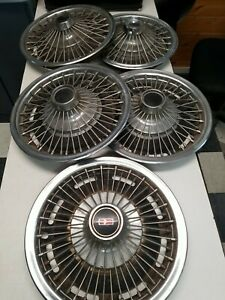 1967 Oldsmobile 14 Wire Wheel Covers Hubcaps Set Of 5 Vintage 552267