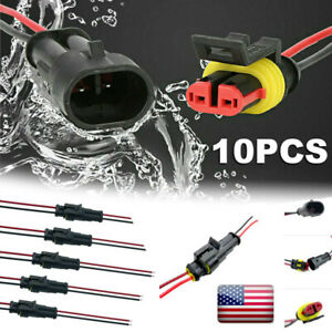 10pcs 2pin Way Seal Car Electrical Wire Connector Plug Waterproof Auto Kit Cable