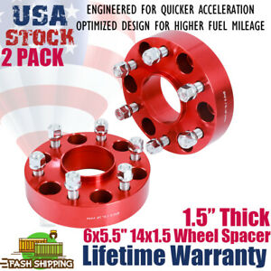 2pcs 1 538mm Thick 6x5 5 14x1 5 Wheel Spacer Red For Chevrolet Cadillac Gmc