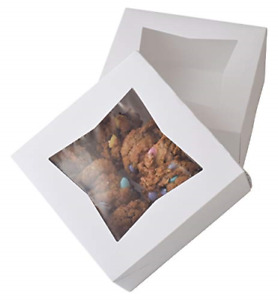 6 X 6 X 3 White Bakery Box Auto popup Small Pie Boxes With Window 20