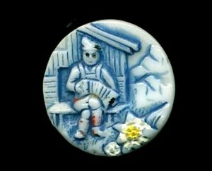 Glass Pictorial Swiss Man Accordion Edelweiss Cabin Alps 11 16 Vintage Button