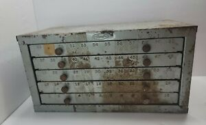 Vintage Huot 5 Drawer Drill Bit Cabinet 1 To 60