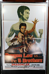 Dragon Lee Vs The 5 Brothers 1978 Vintage Movie Poster Kung Fu Action $14.99