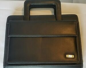 Franklin Covey Day One Zip Planner Binder Faux Leather Starter Pack Black Euc