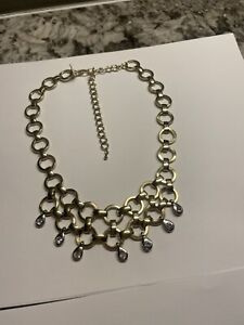 Signed Cookie Lee Two Tone Costume Necklace Adjustable Length $11.99