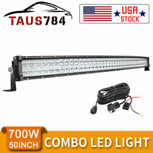 Curved 52inch 700w Led Work Light Bar Spot Flood Combo Truck Suv 4x4wd Harness