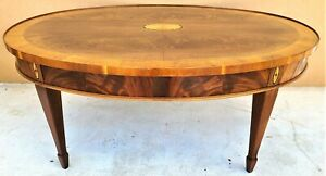 Vintage Hekman Copley Place Federal Style Oval Mahogany Coffee Cocktail Table
