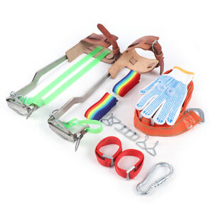Tree Climbing Spike Set Safety Belt Gear 440lb Stainless Steel Claw With Gloves