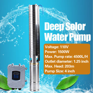 4 deep Well Solar Water Pump 110v 1500w Bore Hole Submersible W Mppt Controller