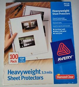 Avery Diamond Clear Heavyweight Sheet Protectors Top Load 100 Count Pv119 74100