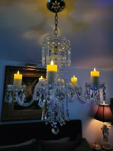 Antique Crystal Chandelier 5 Arm S With Battery Timer Candles
