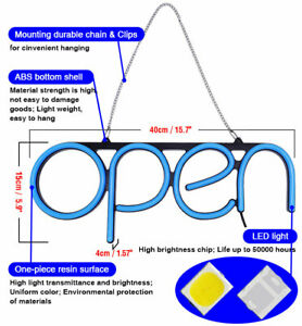 Us Stock Business Open Neon Sign Lamp Bright Led Store Shop Advertising Light