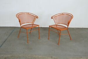 Pair Of Mid Century Modern Atomic Orange Outdoor Metal Curved Back Chairs
