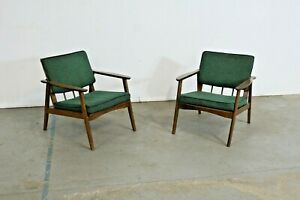 Pair Of Mid Century Lounge Chairs Walnut Open Arm Lounge Chairs