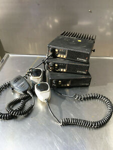 Lot Of 3 Motorola D51mja97a3ak Maxtrac Mobile 2 way Radio With Microphone 2