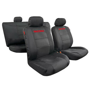For Toyota Tacoma Seat Covers Black Waterproof Canvas Full Set Truck Protection