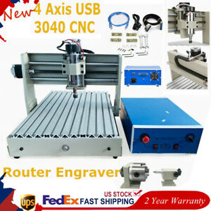 400w 4 Axis 3040 Cnc Pcb Router Engraver Drilling Milling Engraving Machine Usb