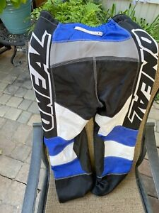 """O'Neal Elements Motocross Racing Pant SZ 32"""" with Kevlar Black Blue Silver $30.00"""