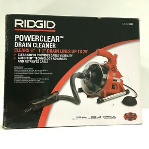 Rigid Powerclear Drain Cleaner 25ft Autofeed Maxcore Cable Guide Hose 55808
