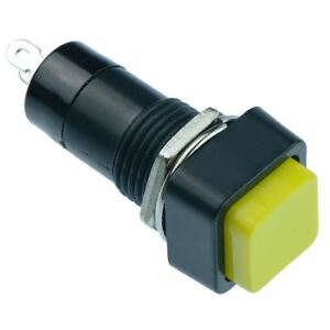 2 X Yellow Off on Momentary Square Push Button Switch 12mm Spst