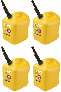 Midwest 8610 Yellow Poly Diesel Fuel Cans W Flameshield Spout 5 Gallon 4 Pack