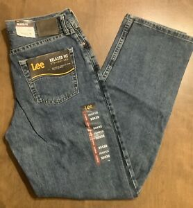 Lee Men#x27;s Relaxed Fit Straight Leg Blue Jeans 30x32 NWT $19.99