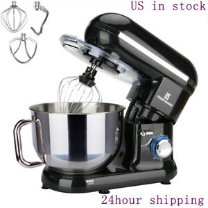 5 8qt Electric Stand Mixer Stainless Steel Mixing Bowl Food Egg Dough Hook Whisk