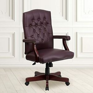 Flash Furniture Bonded Leather Office Chair Burgundy New In Box Free Shipping