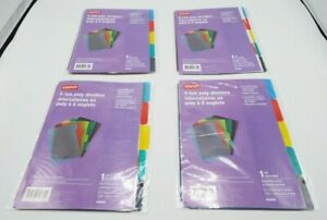 Lot Of 4 Staples Dividers 5 tab Assorted Colors Set 40908 354572