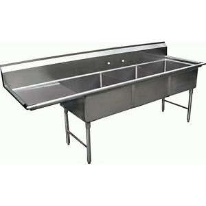 3 Compartment S s Sink 18 x24 With Left Drainboard Nsf