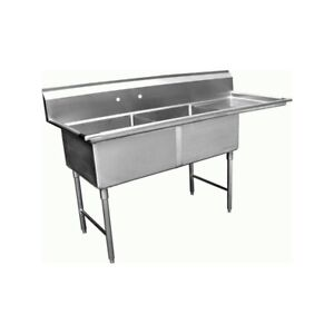 2 Compartment Sink With 1 Right 18 Drain Board Nsf