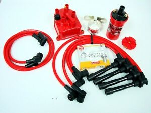 Vms Racing 93 97 Honda Del Sol Msd Coil Wires Ngk Plugs Red Distributor Cap Kit