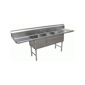 3 Compartment Stainless Steel Sink 18 x24 2 Drainboard