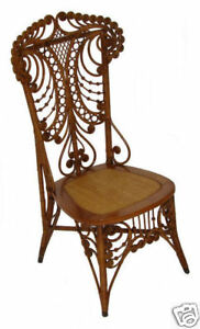 Antique Fancy Victorian Wicker Chair Natural Finish