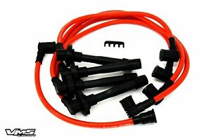 Vms 90 93 Honda Accord Ex Lx Dx 10 2mm Racing Spark Plug Cables Wires Set Red