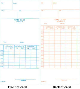 1000 Atr121 Time Cards For Acroprint Atr120 And Atr120r Time Clock Models