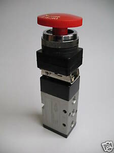 1pc 4 2 Position Red Emergency Push Button Valve 1 4 Npt Mettleair Mpbv4522
